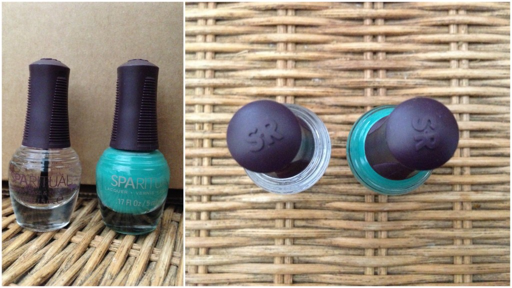 collage of sparitual nail polish and top coat included in the summer 2013 yuzen box