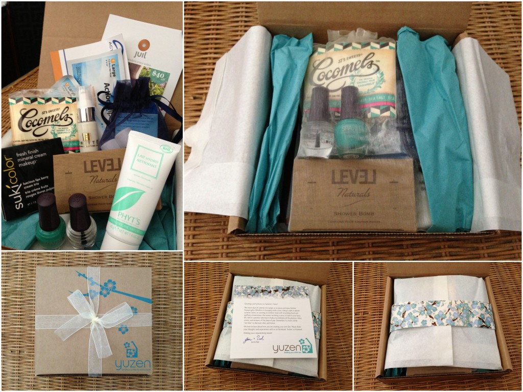collage of unwrapping of summer 2013 may through july yuzen box