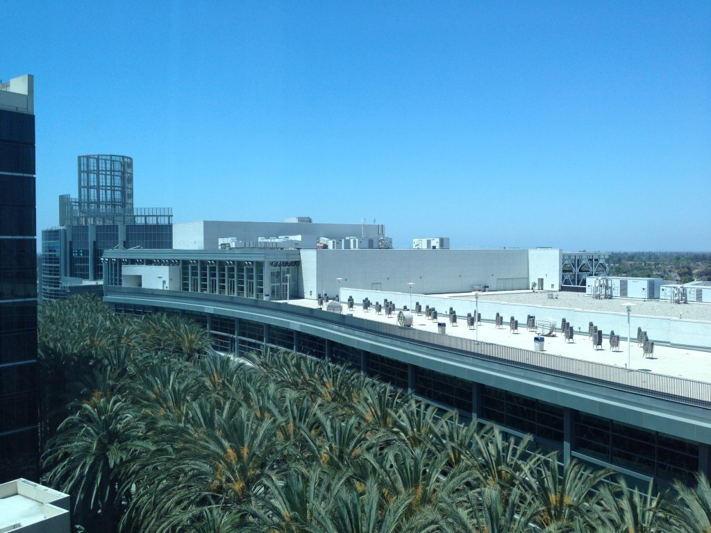 view of anaheim convention center roof from hilton anaheim