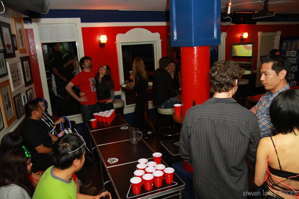 beer pong table at gogobot tron themed party