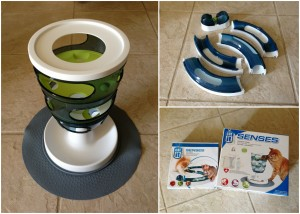 cat feeder and toy collage