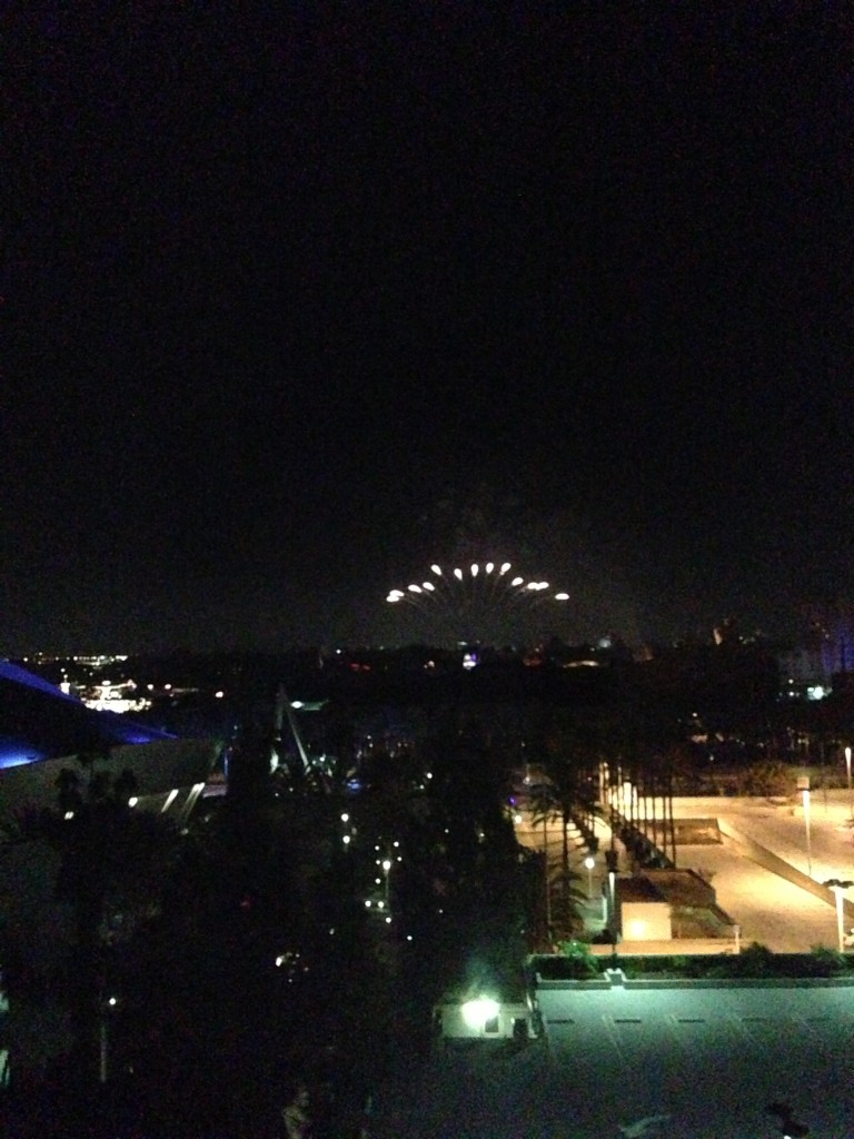 disneyland fireworks as viewed from hilton anaheim