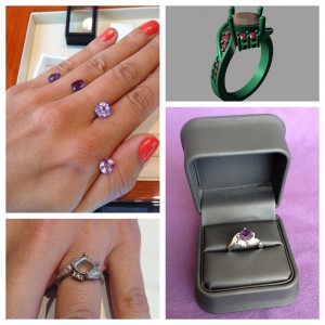 collage of steps to make engagement ring including selecting center stone, drawing up cad model, trying on the bare ring, and the finished product with gems and polished band