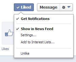 facebook liked button get notifications option