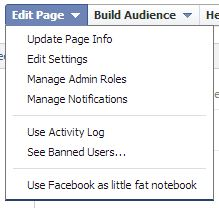 facebook voice use as page dropdown menu choice