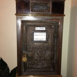 large dark metal old mailbox