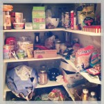 pantry shelves filled with random food items