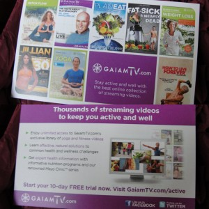 collage of gaiam tv free trial offer info card included in the november 2012 yuzen box