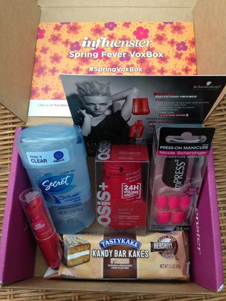 influenster spring fever voxbox contents including nyc new york color glossy lip balm, secret antiperspirant/deodorant, schwarzkopt professional osis dust it, broadway nails press-on manicure nails, and tastykakes snack