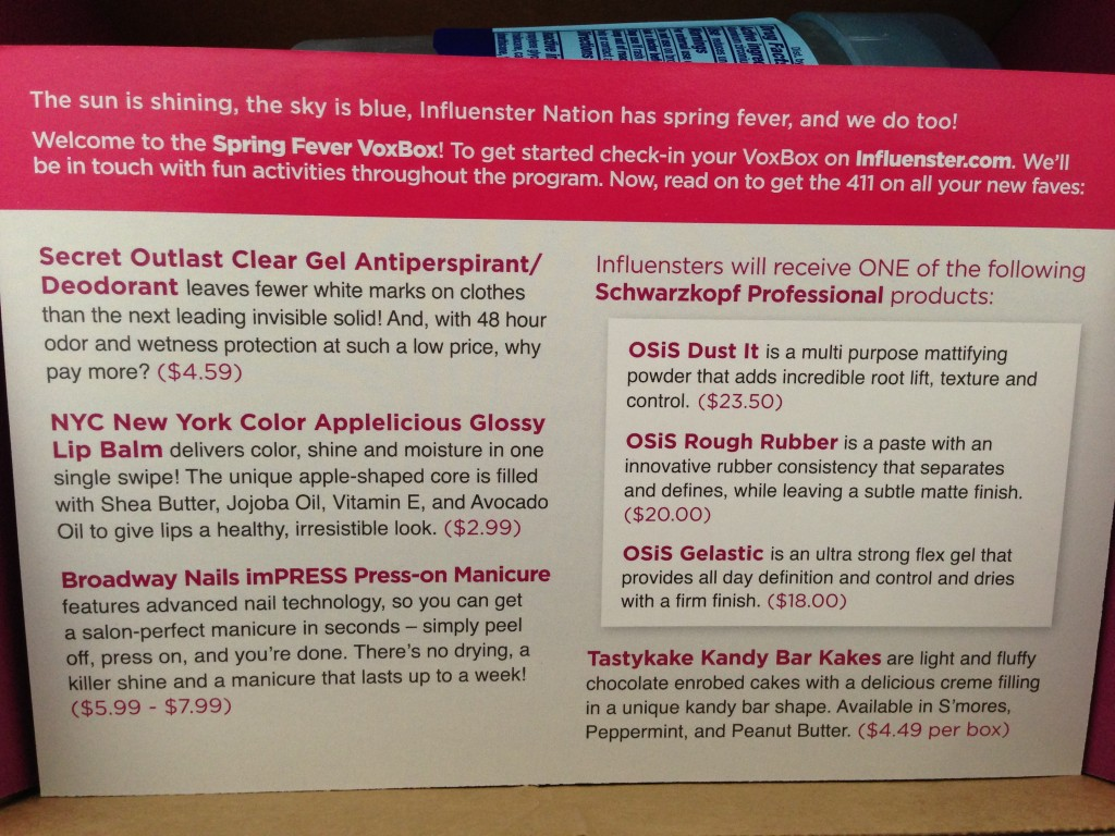 influenster spring fever voxbox product information card
