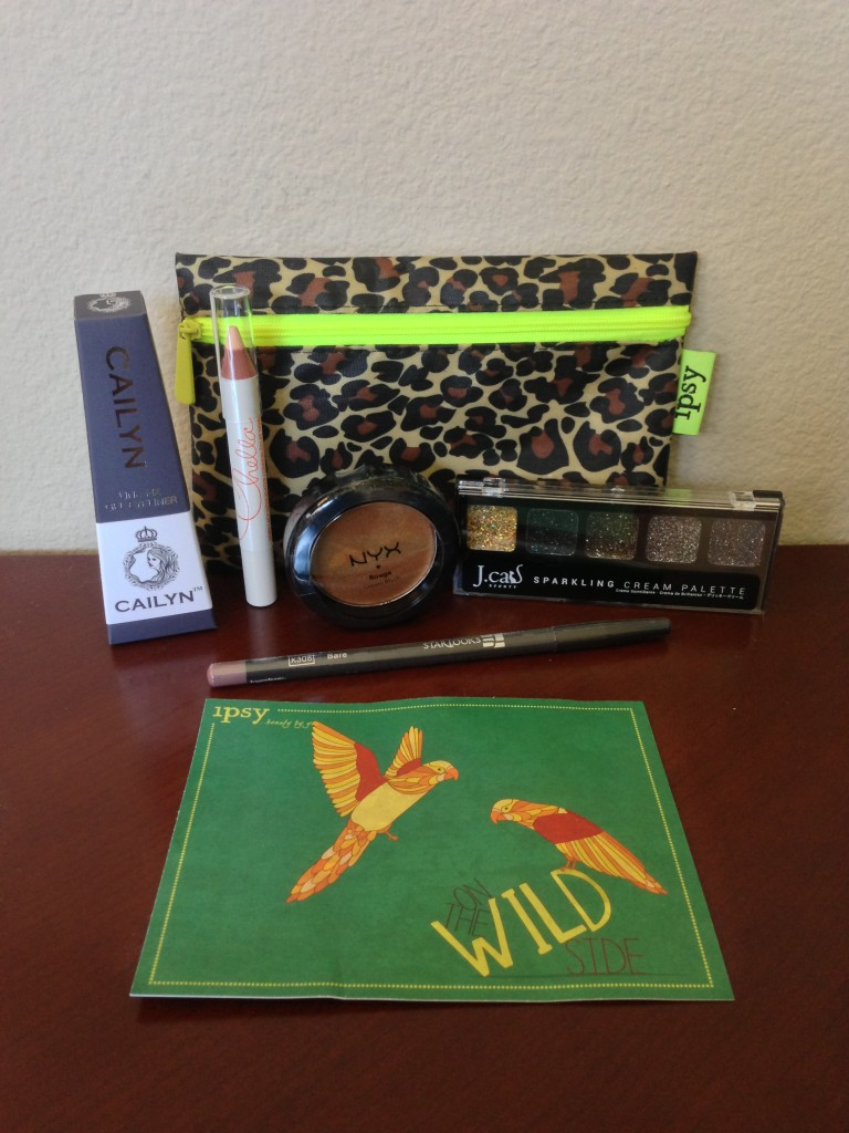ipsy june 2013 bag items with card including cailyn gel eyeliner in iron, chella ivory lace highlighter pencil, nyx rouge cream blush in bronze goddess, j.cat sparkling cream palette in volta, and starlooks lip pencil in bare