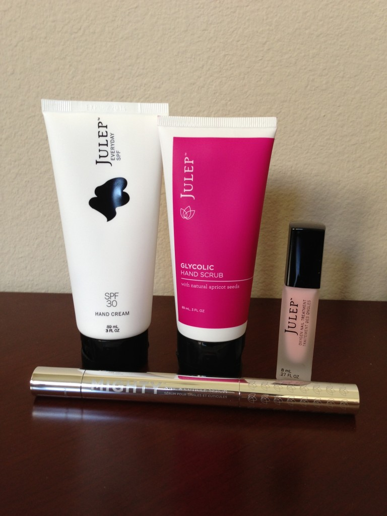 julep hand care products including hand cream, glycolic hand scrub, oxygen nail treatment, and cuticle serum