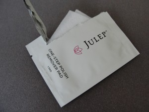 open packet of julep one-step polish remover pad with pad peeking out of packaging