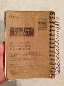 back of worn mead five star fat lil notebook