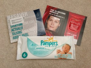 sample of pad, l'oreal revitalift miracle blur, and pampers sensitive wipes