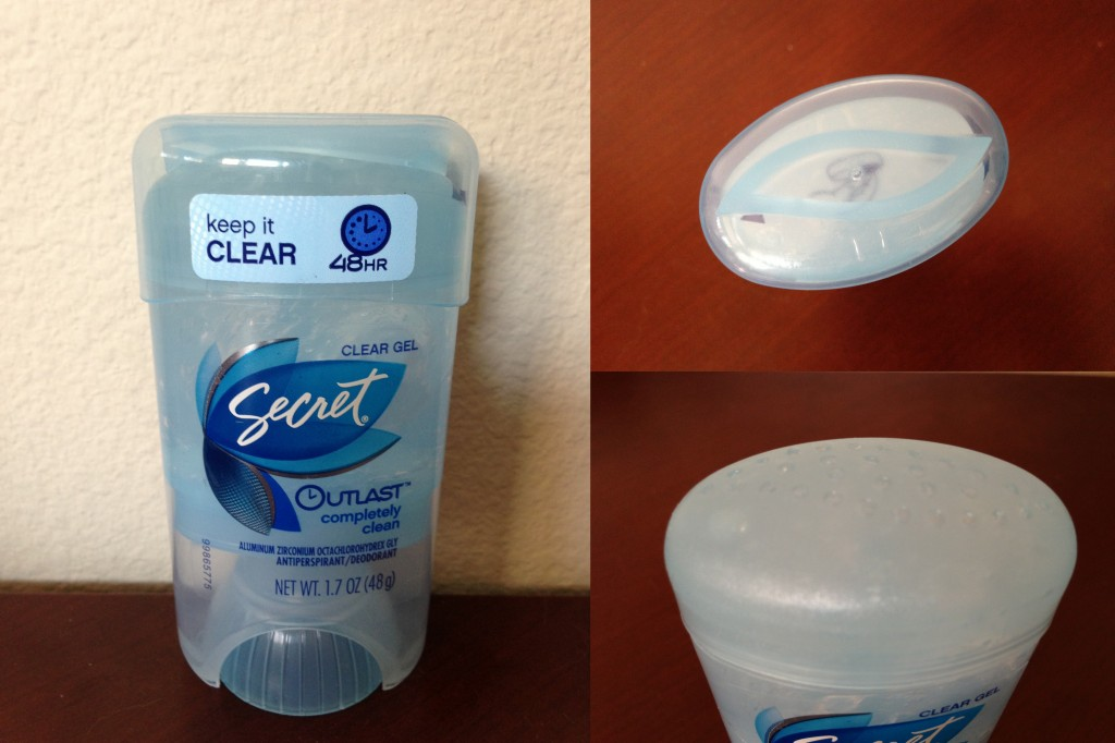 collage of secret antiperspirant/deodorant clear gel in completely clean