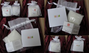collage of zents bath salts in mandarin and earth included in the november 2012 yuzen box