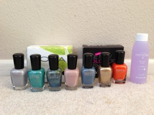 zoya nail polishes in harley, zuza, crystal, pandora, skylar, ziv, sienna, and bottle of nail polish remover