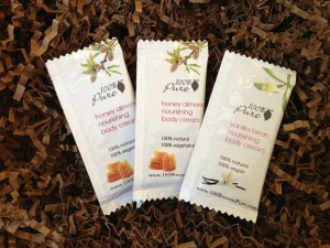 100% pure body cream samples in honey almond and vanilla bean