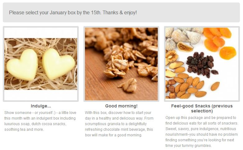 the choices for january's blissmobox: indulge..., good morning!, and feel good snacks