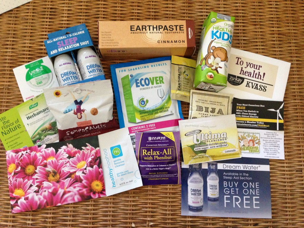 conscious box may contents with yesto spf lotion, herbamare, dream water, somersaults, earthpaste, ecover, healthy hoohoo, mrm relax all, healthy kids drink, zukay kvass, bija tea, ultima replenisher, mac n mo's treats discount, and ethical electric code