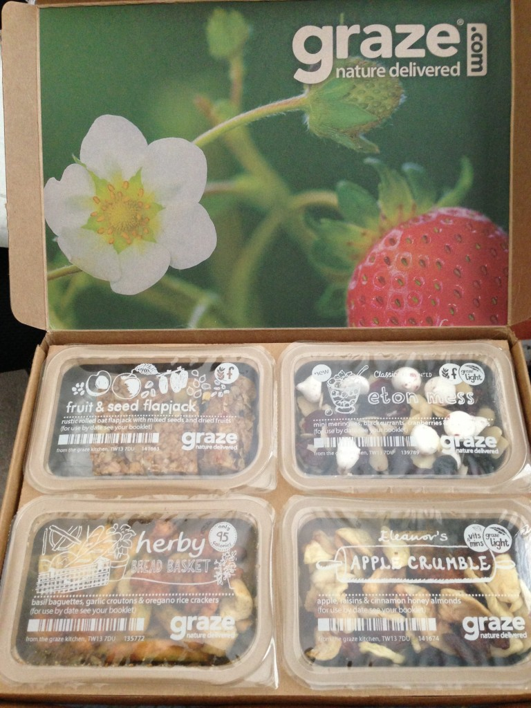 my fifth graze box with fruit & seed flapjack, eton mess, herby bread basket, and eleanor's apple crumble