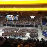 view of ucla engineering commencement 2013 from top of pauley pavilion seating