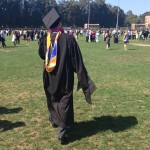 ucla engineering masters graduate walking in field