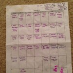 calendar filled with writing planning blog posts
