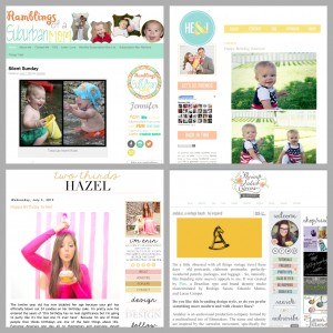 collage of four different blogs with white backgrounds and bright colors