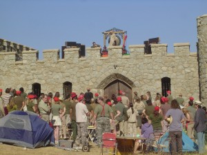 filming messiah's castle scene of wristcutters with lots of extras
