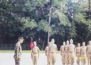 mini boot camp platoon formation with drill instructor yelling