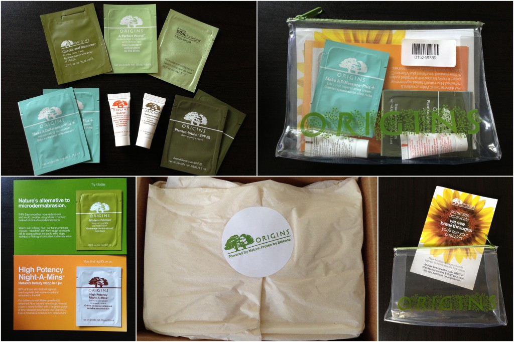 origins skincare samples collage