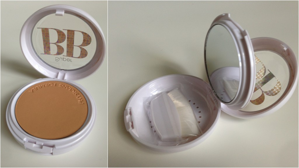collage of physician's formula bb powder open showing powder, mirror, and brush