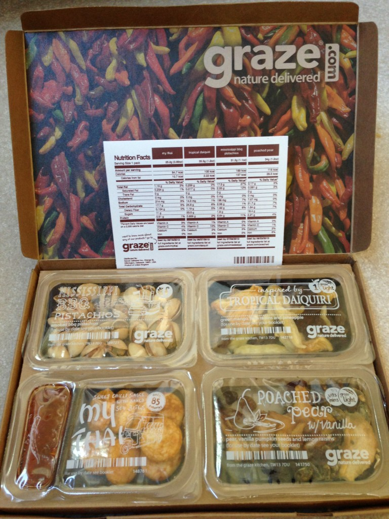 my fifth graze box with mississippi bbq pistachios, tropical daiquiri, my thai, and poached pear