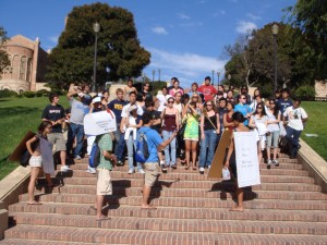 group of students standing on janss steps at ucla with counselors telling stories