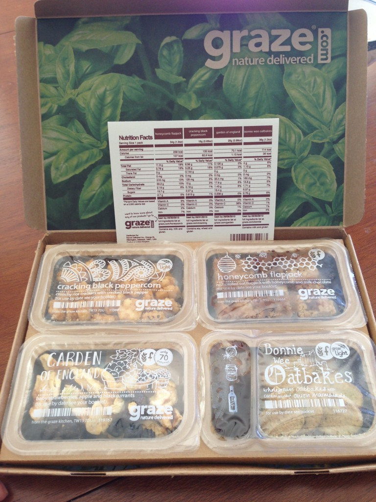 my third graze box with cracking black peppercorn, honeycomb flapjack, garden of eden, and bonnie wee oatbakes