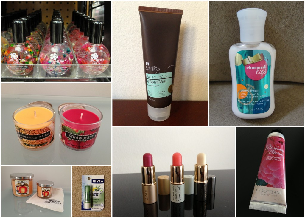 collage of items traded for swaps including island girl hawaii cuticle oil, bath & body works candles in small and medium, pangea face mask, jane iredale lippies, bath & body works lotion, and l'occitane hand cream