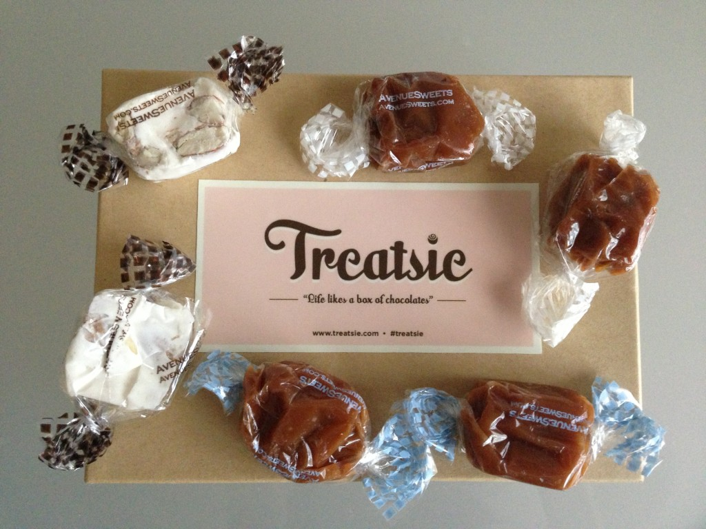 treatsie july box with avenuesweets caramels and nougats