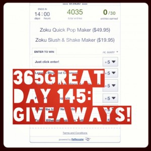 365great challenge day 145: giveaways