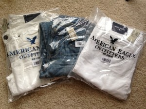 american eagle skinny jeans in plastic packaging