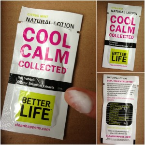 collage of better life citrus mint cool calm collected lotion sample