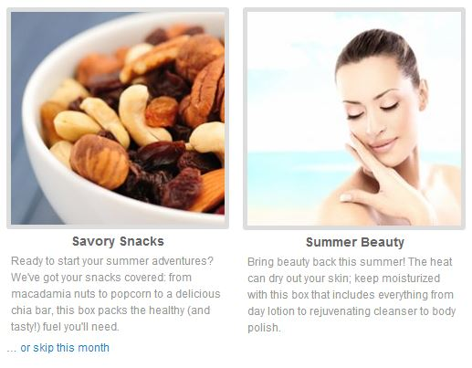the choices for july's blissmobox: savory snacks and summer beauty