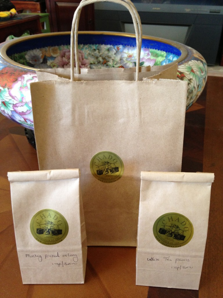 bags of loose leaf tea bought from chado tea