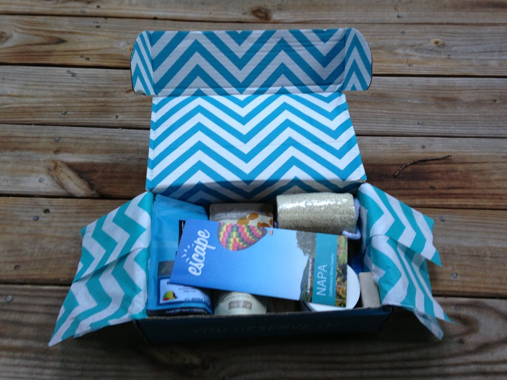look at inside of escape monthly august napa valley box with info card and products showing