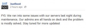 screenshot of facebook announcement that justhost's servers were down