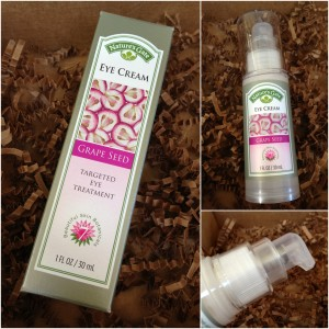collage of nature's gate grape seed targeted eye treatment eye cream