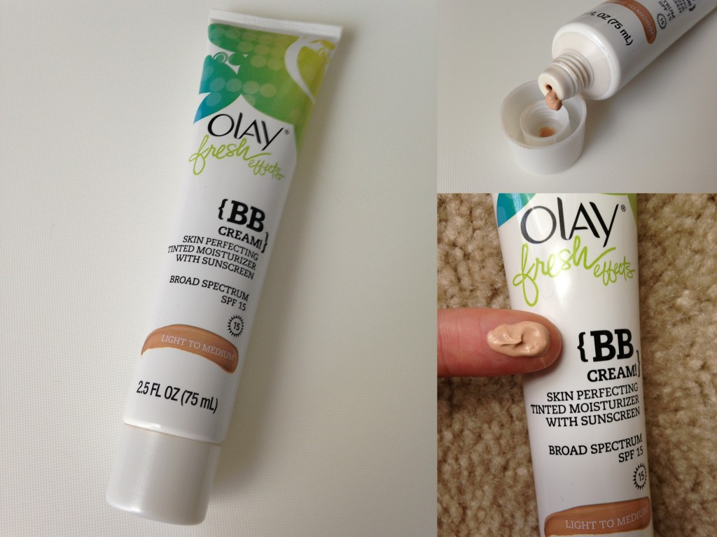 collage of olay fresh effects bb cream in light to medium