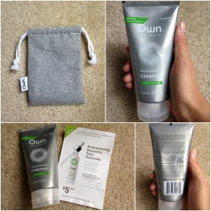 collage of own skin health anti-aging rejuvenating facial cleanser