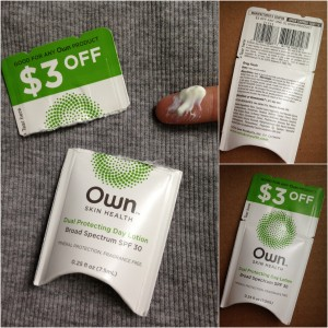 collage of own skin health dual protecting day lotion with spf 30 sample